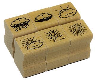 Elbi Lehrerstempel Stempelset aus Holz - Motiv: Sonne / Wolke