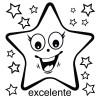 Elbi Lehrerstempel aus Holz Spanischstempel Strahlender Stern mit Lobwort excelente