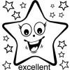 Elbi Englischstempel aus Holz - Stern strahlend mit Wort excellent