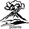 Elbi Lehrerstempel aus Holz Italienischstempel Vulkan mit Wort potente