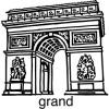 Elbi Lehrerstempel aus Holz Französischstempel Pariser Triumphbogen mit Wort grand