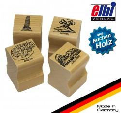 Elbi Lehrerstempel Stempelset aus Holz 4 x Italienischstempel