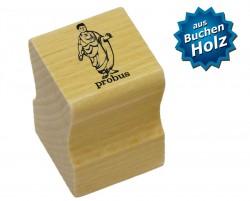 Elbi Lehrerstempel aus Holz - Lateinstempel - Statue mit Wort probus