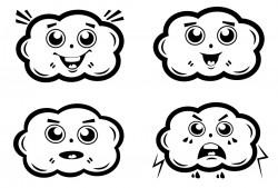 Elbi Lehrerstempel Stempelset aus Holz - 4 x Smileys / Wolken / Gesichter