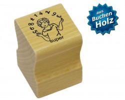 Elbi Lehrerstempel aus Holz - Kind jongliert mit Zahlen - Wort super