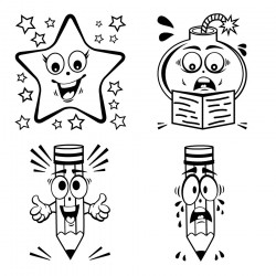 Elbi Lehrerstempel Stempelset aus Holz 4 Universalstempel Smileys Lob und Tadel