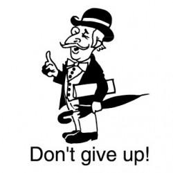 Elbi Englischstempel Lehrerstempel aus Holz für die Schule - Don't give up!
