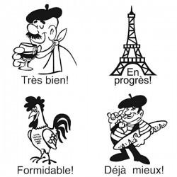 Elbi Lehrerstempel Stempelset mit Motiv 4 x Französischstempel