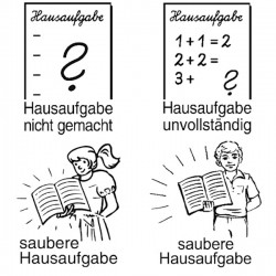 Elbi Lehrerstempel Stempelset mit Motiv 4 x Hausaufgabenstempel