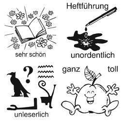 Elbi Lehrerstempel Stempelset mit Motiv 4 x Stempel zur Heftführung