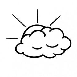 Elbi Stempel aus Holz - Lehrer Motivstempel - Wolke mit Sonnenstrahlen