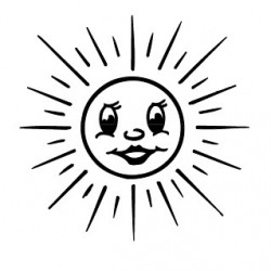 Elbi Stempel aus Holz - Lehrer Motivstempel - Sonne, strahlend