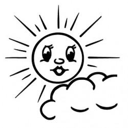 Elbi Stempel aus Holz - Lehrer Motivstempel - Sonne, wenig Wolke