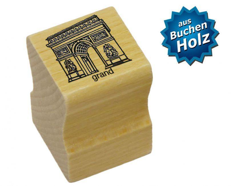 Elbi Lehrerstempel aus Holz - Französischstempel - Pariser Triumphbogen mit Wort grand