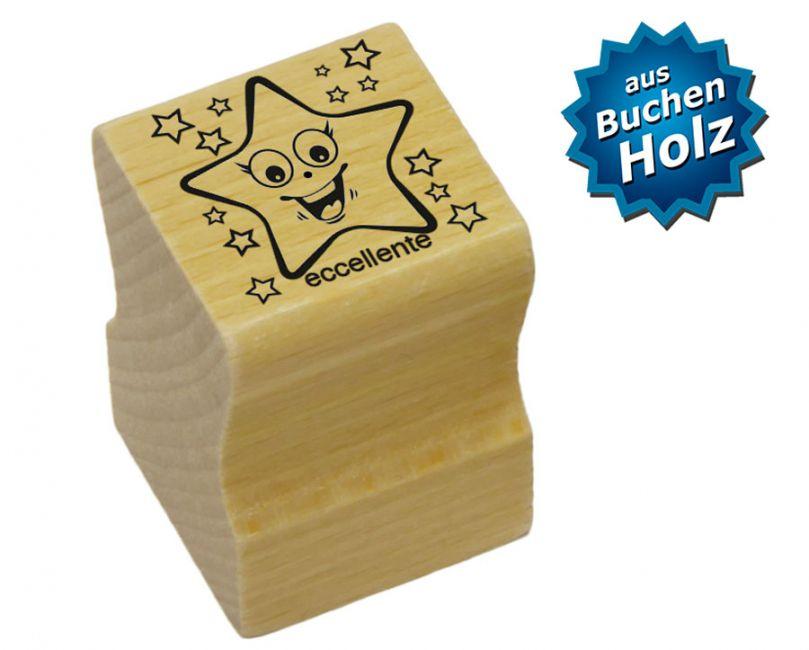 Elbi Lehrerstempel aus Holz - Italienischstempel - Strahlender Stern mit Wort eccellente
