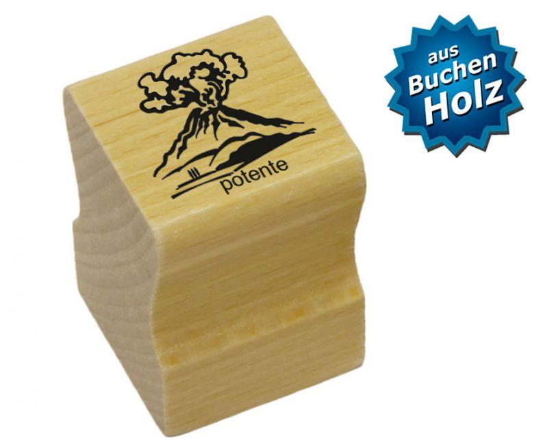 Elbi Lehrerstempel aus Holz - Italienischstempel Vulkan mit Wort potente