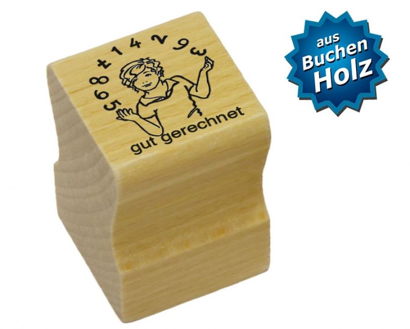 Elbi Lehrerstempel aus Holz - Kind jongliert mit Zahlen - Wort gut gerechnet