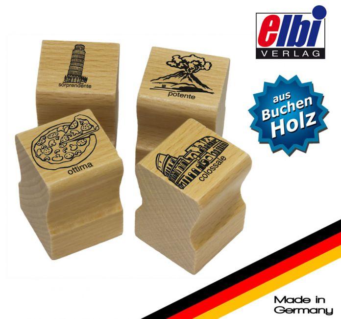 Elbi Lehrerstempel Stempelset aus Holz - 4 x Italienischstempel