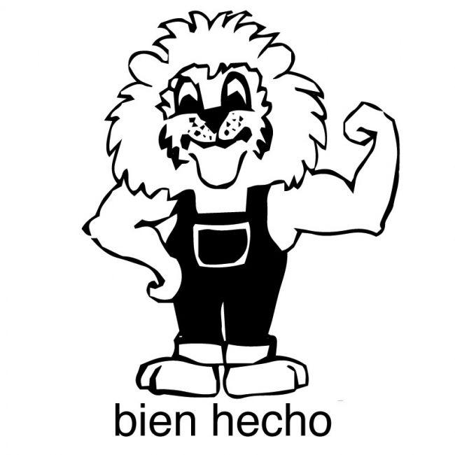 Elbi Lehrerstempel aus Holz - Spanischstempel - Starker Löwe mit Lobworten bien hecho