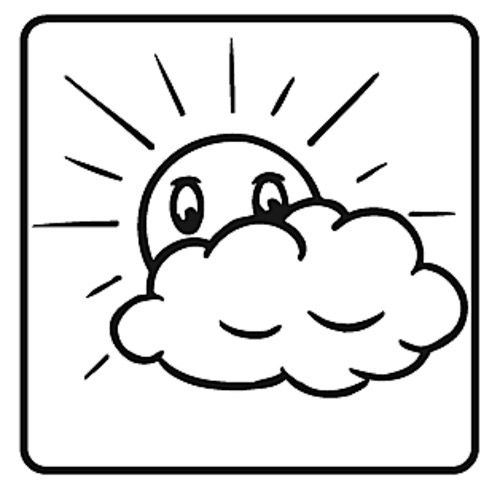 Elbi Motivstempel Kinder Holzstempel - Sonne mit Wolken