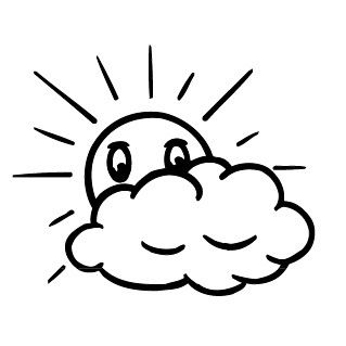 Elbi Stempel aus Holz - Lehrer Motivstempel - Sonne mit Wolke