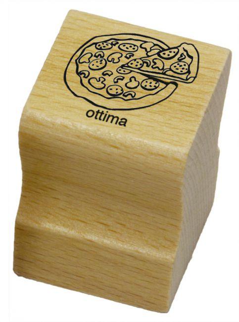 Elbi Lehrerstempel aus Holz - Italienischstempel - Pizza mit Wort ottima