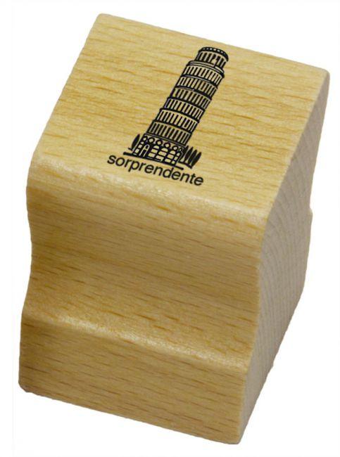 Elbi Lehrerstempel aus Holz - Italienischstempel - Schiefer Turm von Pisa mit Wort sorprendente