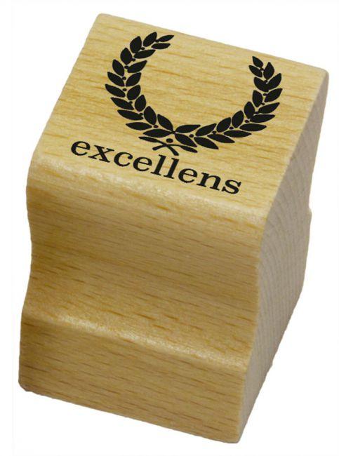 Elbi Lehrerstempel aus Holz - Lateinstempel - Lorbeerkranzes mit Wort excellens
