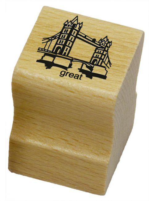 Elbi Lehrerstempel aus Holz - Englischstempel - Tower Bridge mit Wort great
