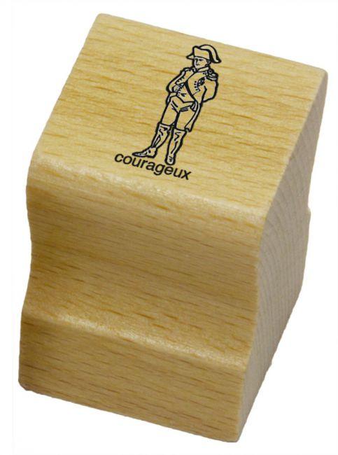 Elbi Lehrerstempel aus Holz - Französischstempel - Napoleon mit Wort courageux
