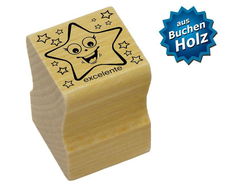 Elbi Lehrerstempel aus Holz - Spanischstempel - Strahlender Stern mit Lobwort excelente