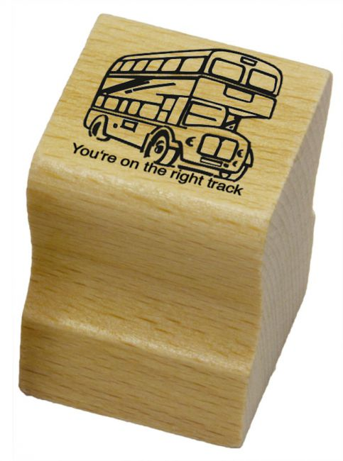 Elbi Lehrerstempel - Englischstempel - Londoner Doppeldeckerbus - You're on the right track