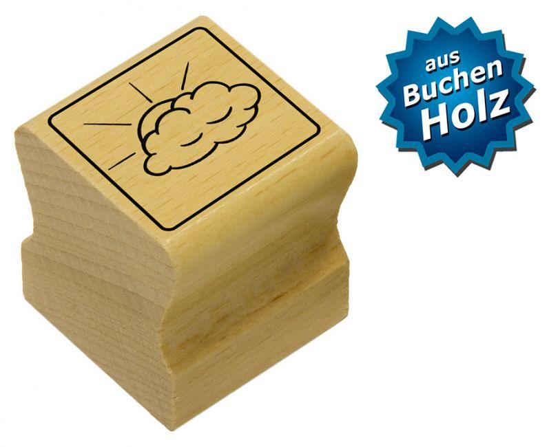 Elbi Motivstempel Kinder Holzstempel - Wolke mit Sonnenstrahlen