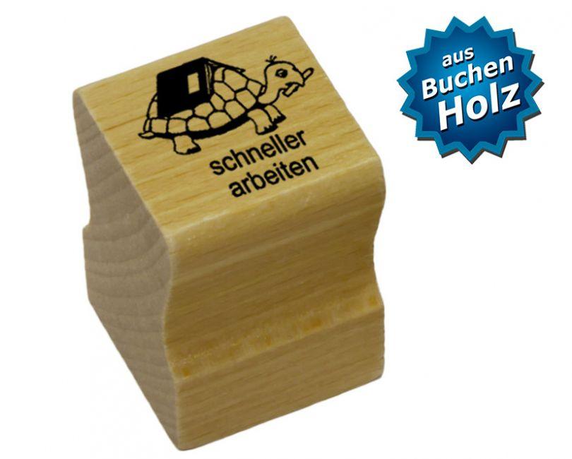 Elbi Lehrerstempel aus Holz mit Motiv - Schildkröte schneller arbeiten