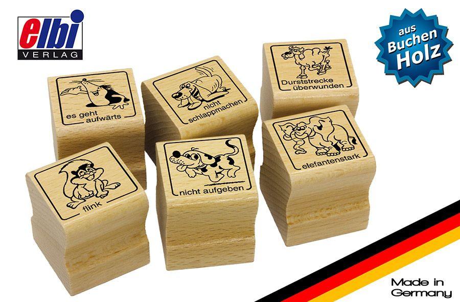 Elbi Lehrerstempel Stempelset aus Holz - lustige Tiermotive