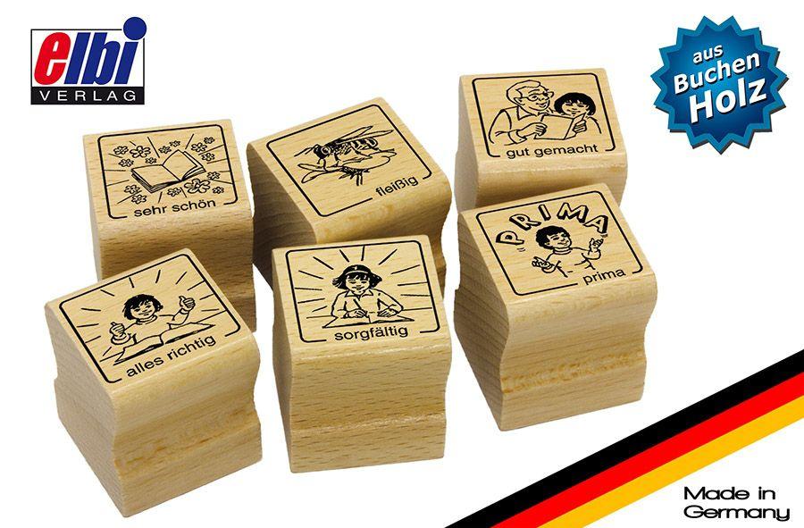 Elbi Lehrerstempel Stempelset aus Holz - Spezielle Belobigungen