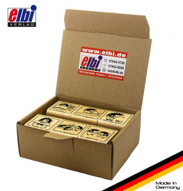 Elbi Lehrerstempel Stempelset aus Holz - 6 x Lehrerstempel Igelklasse in der Igelschule