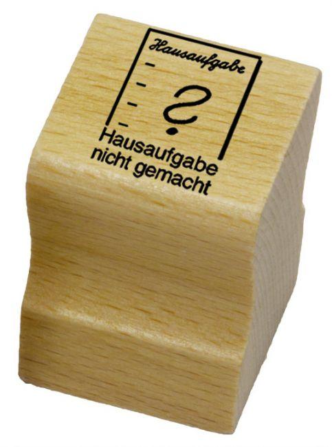 Elbi Stempel aus Holz - Lehrer Motivstempel - Hausaufgabe nicht gemacht