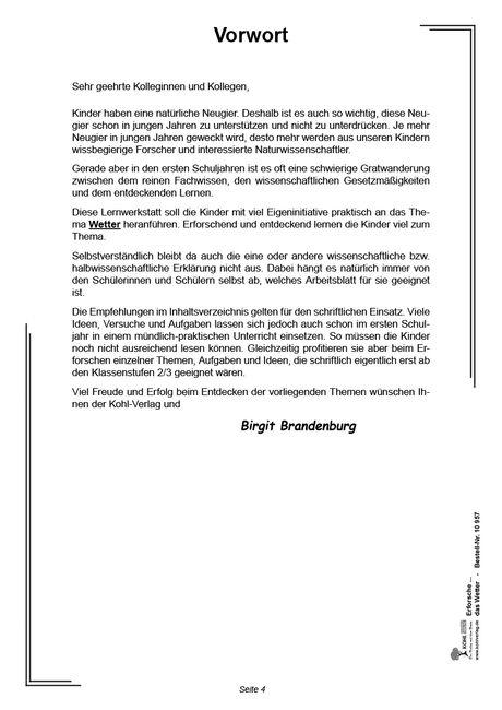 Kopiervorlagen Grundschule Sachunterricht - Wetter Klasse 1 bis 4