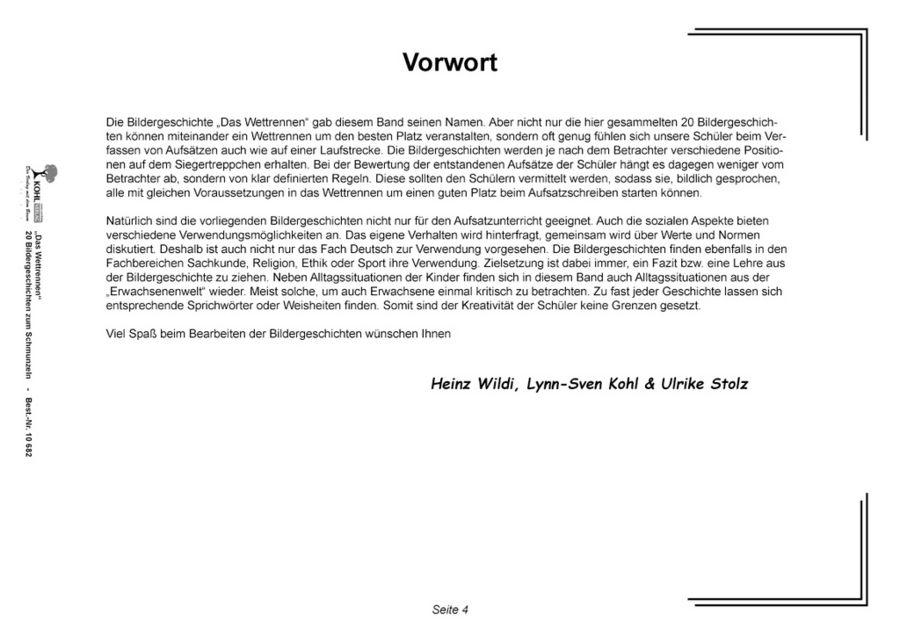 Kopiervorlagen Grundschule - Das Wettrennen - 20 Bildergeschichten