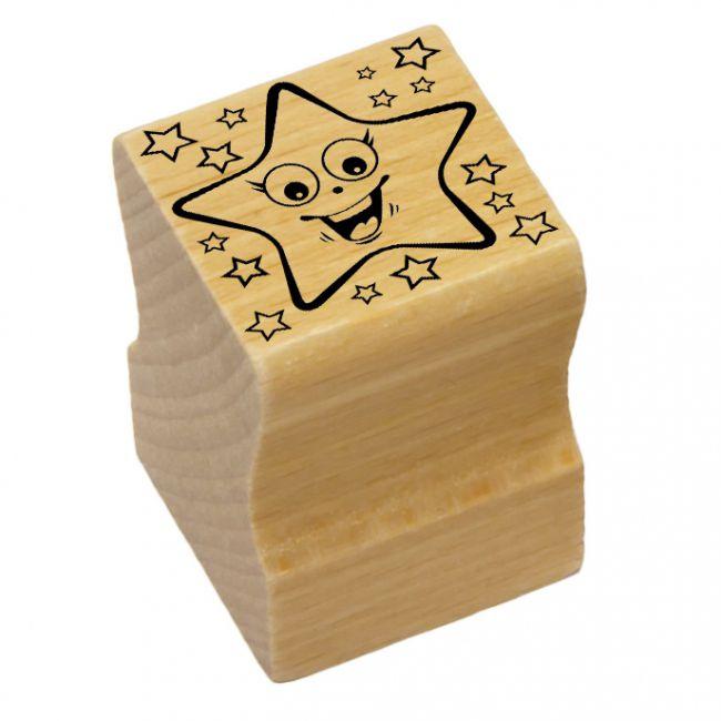 Elbi Lehrerstempel Stempelset aus Holz - 4 Universalstempel Smileys Lob und Tadel