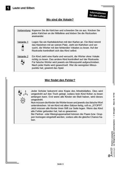 Kopiervorlagen Grundschule - Kreative Lesespiele im 2. Schuljahr - Deutsch Klasse 2