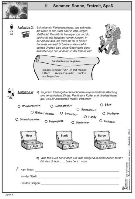 Kopiervorlagen Grundschule Sachunterricht - DenSommer kennen lernen