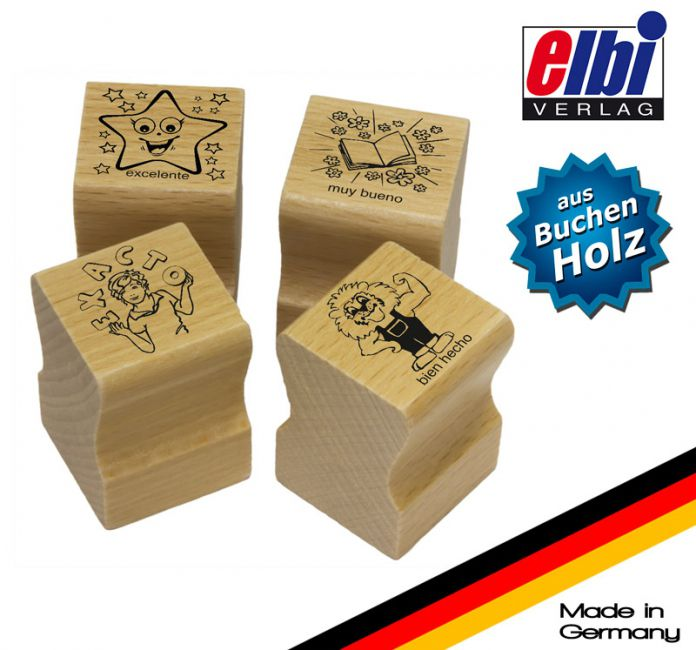 Elbi Lehrerstempel aus Holz - 4 x Spanischstempel